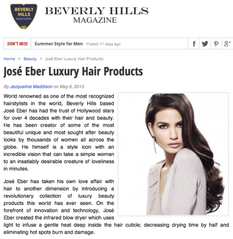 Jose Eber Hair featured in Beverly Hills Magazine
